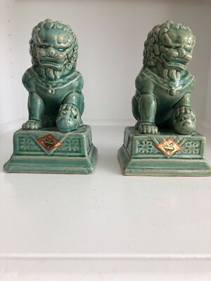 Asian Foo Dog Temple Guard Bookends with Original Sticker - Marked on Bottom