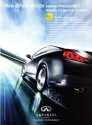 2009 Infiniti G Coupe I-AWD photo Car & Driver's 10 Best List promo print ad