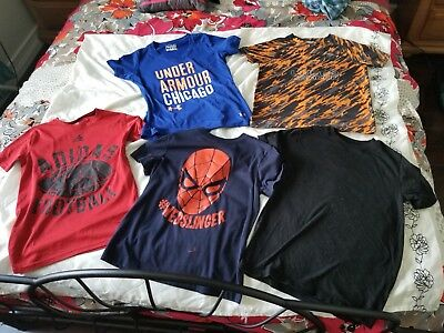 Under Armour, ADIDAS etc Lot Of 5 Boys TEES Medium 10-12 Yr