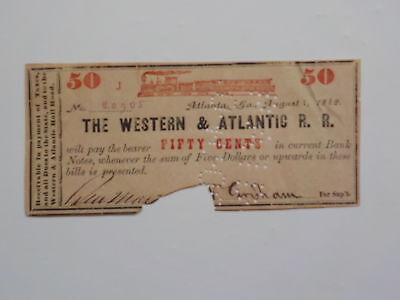 Civil War Confederate 1862 50 Cents Note The Western & Atlantic Railroad Georgia