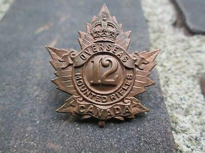 WWI CEF 12th Mounted Rifles Overseas Canada Browning Copper Collar Badge