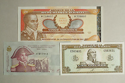 3 different Haiti paper money 1 xf, 10 and 20 Gourdes Au-Uncirculated