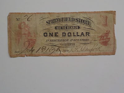 Scrip Note 1875 1 Dollar Springfield Store Cash Paper Money Currency Barter VTG