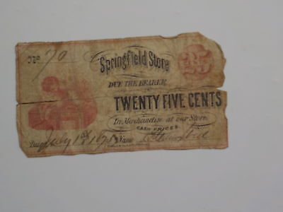 Scrip Note 1875 25 Cents Springfield Store Cash Paper Money Currency Barter Old