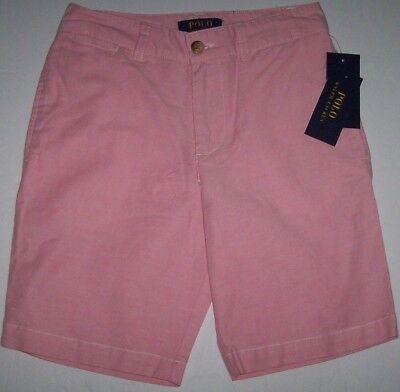 NWT Polo Ralph Lauren Flat-Front Dress Shorts Chambray OXFORD BSR Pink 12 Boys