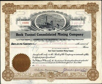 Beck Tunnel Consolidated Mining Co, Provo, Utah, 1912 Stock Certificate