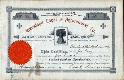 Cleveland Canal And Agricultural Co, Utah Territory, 1899 Stock Certificate