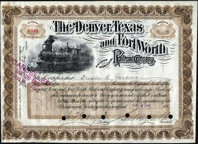Denver, Texas And Fort Worth Railroad Co, Colorado, 1889, Signed Sidney Dillon