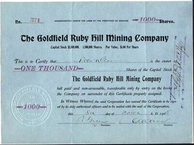 Goldfield Ruby Hill Mining Co, Territory Of Arizona, Mines In Nev. 1905 Stock Ct
