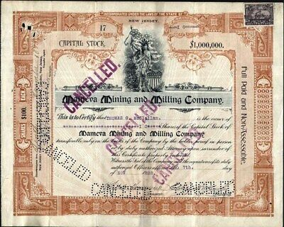 Mameva Mining And Milling Co, 1898 With Documentary Stamp Affixed