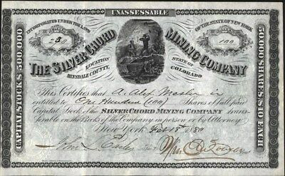 Silver Chord Mining Co,1880, Hinsdale Co, Of Colorado, Uncancelled Stock Cft.