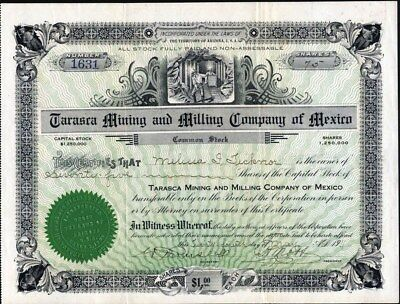Tarasca Mining And Milling Co Of Mexico, 1911, Terr. Of Arizona, Uncancelled Cft