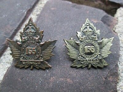 WWI CEF 155th Quinte Overseas Battalion Collar Badge Set - Non-Matching