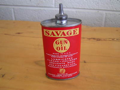 Vintage Savage Gun Oil Tin Can Handy Oiler Lead Top 1930's NICE