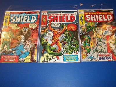 Nick Fury Agent of Shield #16,17,18 Silver age run of 3