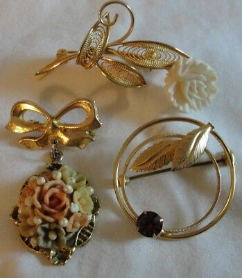 Antique Vinatge Lot Of 3 Pretty Floral Flower Pins Brooches Carved, Crystal