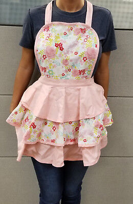 Hand Sewn Women's Apron Cute Retro Bib with Ruffles  and Pockets.  Awesome