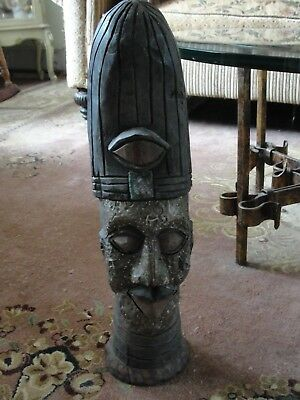 "Antique African Carved Wood & Brass Large 19"" Figurine Sculpture Estate Find"