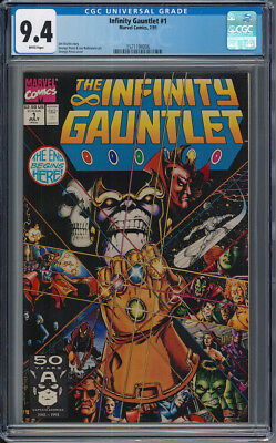 Infinity Gauntlet 1 CGC 9.4 NM WHITE Pages Thanos Avengers Infinity War Starlin