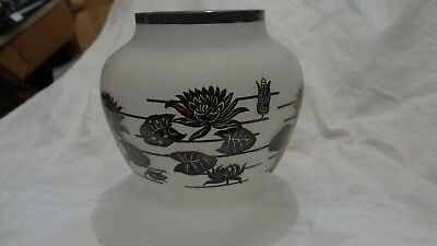 Antique Art Nouveau Satin Glass Vase Sterling Silver Overlay Water Lilies