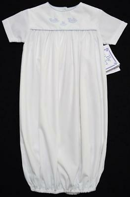 The Bailey Boys Newborn White Layette Gown W/blue Shadow Stithced Whales~Nwt's