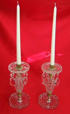 Antique Victorian Empire Deco Diamond Cut Crystal & Gold Gilded Candle Lusters