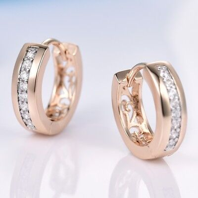 Vogue Bridal Wedding Sapphire Crystal Gold Platinum Filled Hoop Earrings Jewelry