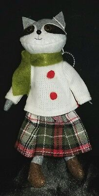 Chalet Cabin Christmas Ornament GIRL Raccoon Dressed In Plaid New 6""