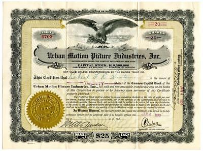 1922 Charles Urban Motion Picture Industries Stock Certificate British Films