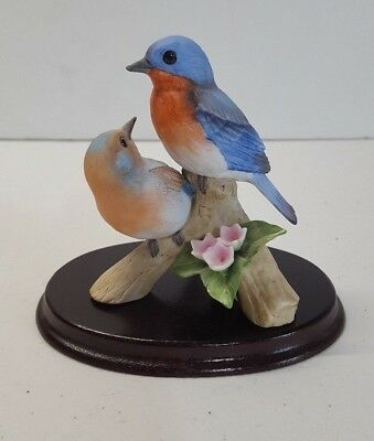 Andrea by Sadek Bluebirds Figurine 7954 with Podium Hand Crafted Porcelain  CS11