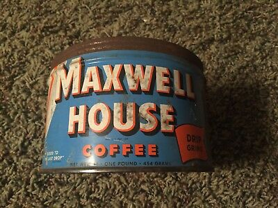 Vintage Maxwell House Coffee Tin Empty tin Can Key Gone No lid Hobeken NJ