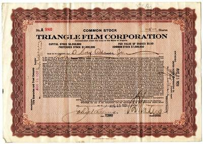1920 Triangle Film Corporation Stock Certificate Early Hollywood Silent Films