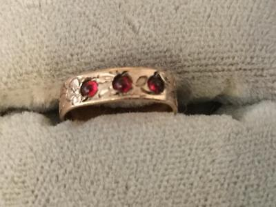 Vintage Antique 10K YELLOW GOLD VICTORIAN PATTERNED  CHILD BABY Ring W/3 Rubies
