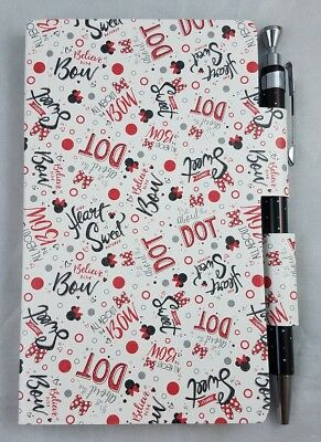 Disney Parks Minnie Mouse Notepad Journal Diary with Pen All About Dot Bow - NEW
