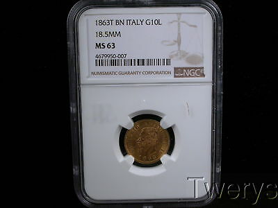 1863T Bn Italy Gold 10 Lire 18.5Mm Ngc Ms 63