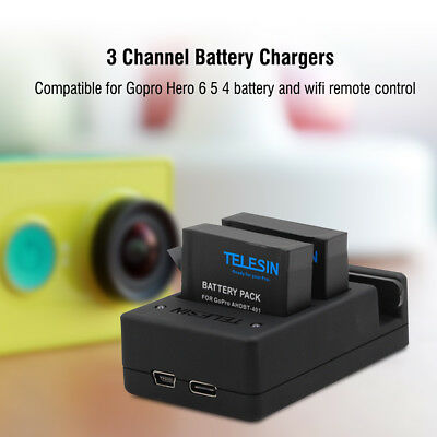 Telesin Wifi Remote Control 3 Channel Battery Charger + Cable for GoPro Hero 6 5