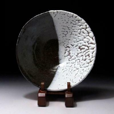 HR2 Japanese Tea Plate, Hagi Ware by Great Potter, Seigan Yamane, 2 Color glazes