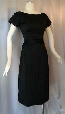 BLACK SATIN Jonny Herbert Vintage 1940s 50s  SWING COCKTAIL PARTY DRESS - SM