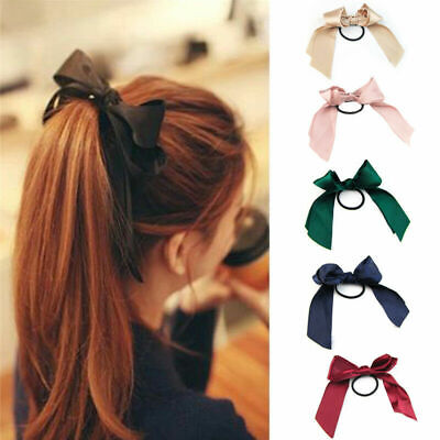 Women Bow-knot Elastic Hair Tie Band Ribbon Rope Ring Ponytail Holder 6 Colors