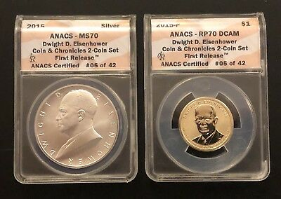 2015 Coin and Chronicles Set Dwight D. Eisenhower First Release ANACS