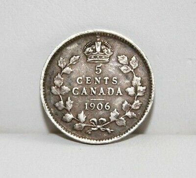 1906 Canada 5C Five Cents Silver Coin