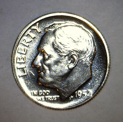 1952 CH / GEM PROOF Roosevelt Silver Dime Coin FLASHY 100% BLAZING WHITE ! #3