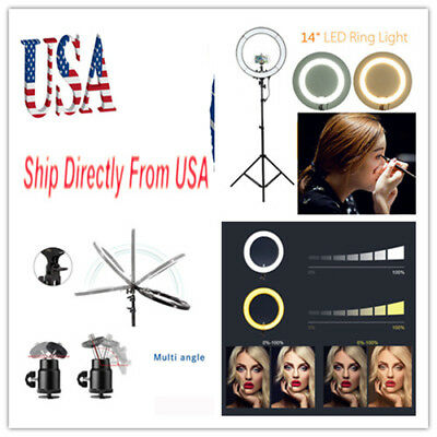 "US 14"" LED For Camera Vlog Video Tripod Ring Light Selfie Photo Photography"