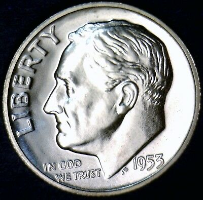 1953 GEM PROOF Roosevelt Silver Dime Coin BLAZING WHITE w/ Superb Mirrors !! #1