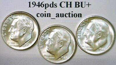 1946 p d & s CH BU SILVER Roosevelt Dimes FLASHY Lot of 3 Coins NO RES FREE SHIP