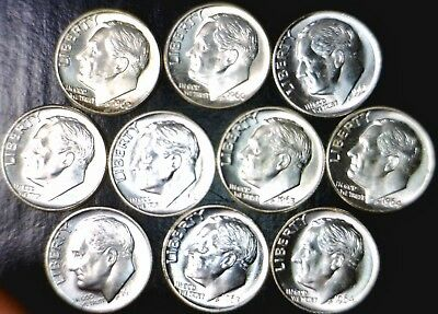 1960pd 61pd 62pd 63pd 64pd CH BU SILVER Roosevelt Dime set of 10 coins FREE SHIP