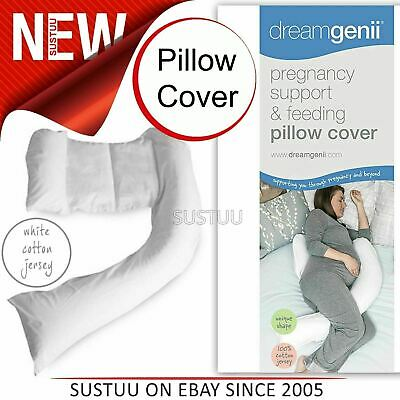 Dreamgenii Pregnancy Support & Feeding Pillow COVER│100% Cotton & Washbale│White