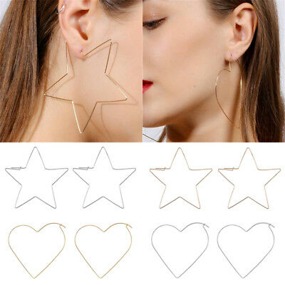 Fashion Hollow Simple Large Heart Star Shaped Hoop Earrings Women Jewelry JT