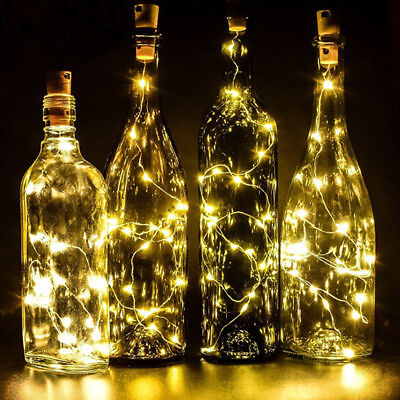❤ 20LED String Battery Operated Copper Wine Bottle Wire Fairy Party Lights ❤