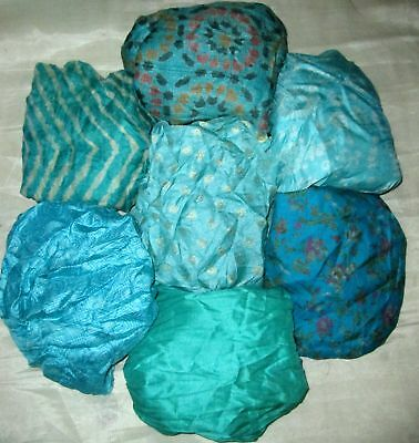 UK LOT PURE SILK Vintage Sari REMNANT Fabric 7 Pcs 1 foot ech Aqua #,AQO6